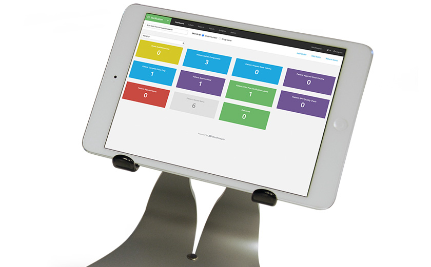 PharmacyKeeper Verification IV Medication Workflow System shown on mobile device
